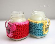 Repeat Crafter Me - Mason Jar Mug Crisco Candles with Crochet Cozy!