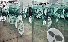 Ryan McGinness, Worlds within Worlds (Detail), 2003, mirror maze installation, vinyl on glass mirrors,  Deitch Projects, New York