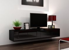 Black modern floating tv stand seattle 23 in tv cabinet prepare 18 floating tv stands floating . Floating Wall Unit, Floating Tv Cabinet, Floating Tv Stand, Tv Stand With Doors, Tv Stand With Storage, White Tv Stands, Black Tv Stand, Tv Stand High Gloss, Modern Tv Wall Units