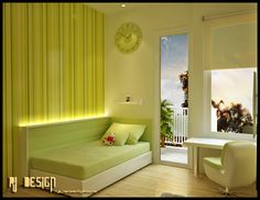 Lime Green Kids Decoration With White Swivel Chair Laminate Floor Green Bed Sheet White Frame Window And Round Clock
