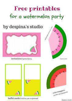 Watermelon party Free Printables set