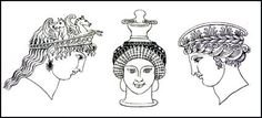 Typical Greek hairstyles and headdresses for women and taken from Hope's Book of Antiquities.