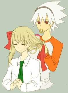 I love pictures with Soul doing Maka's hair