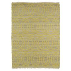 Handmade Natural Fiber Cayon Yellow Circles Rug (7'6 x 9'0) - 350