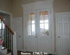 Front doors - idea to add molding to top of interior door frame Front Doors, Windows And Doors, Porch Doors, Exterior Door Trim, Entry Foyer, Entry Doors, Black Interior Doors, Shutter Doors, Other Rooms
