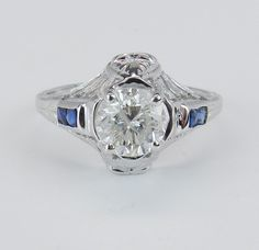 Diamond & Sapphire Engagement Ring Antique Art Deco 18K White Gold size 4 1/2, $1769.00