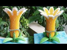 HOW TO MAKE 3D ORIGAMI BRUGMANSIA FLOWER LAMP   DIY PAPER FLOWER LAMP HANDAMDE DECORATION - YouTube