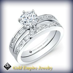 BRD-2018  This modern-style 14kt white gold wedding set features 0.83 points of 18 channel-set baguette diamonds. It may also feature the center stone of your choice! #bridal #modern #weddingset #jewelry   Call for Price 213.626.6012