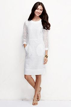 Women's Elbow Sleeve Eyelet Shift Dress from Lands' End - Tall - $129