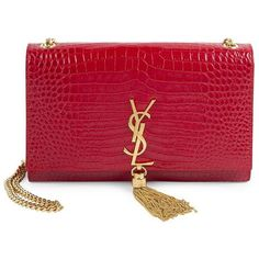 Saint Laurent Kate Monogram Croc-Embossed Leather Tassel Chain... ($2,450) ❤ liked on Polyvore featuring bags, handbags, shoulder bags, red crocodile purse, handbag purse, hand bags, monogrammed handbags and crocodile purse
