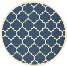 Safavieh Courtyard Moroccan Pattern Navy/ Beige Indoor/ Outdoor Rug (6'7 Round) (CY6914-268-7R), Blue (Polypropylene, Geometric)