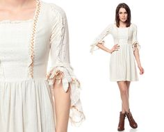 70s Prairie Dress White COTTON EYELET Lace Mini by ShopExile