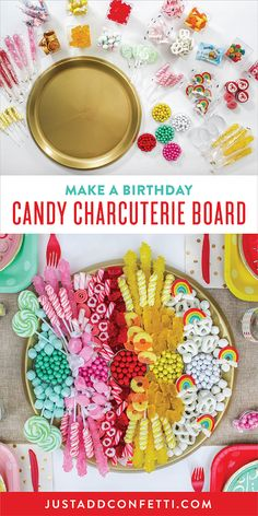 Add some major WOW factor to your party! A Candy Charcuterie Board makes a perfect centerpiece idea at your Candy Birthday Party! Check out the easy step-by-step tutorial to create this candy board in no time!
