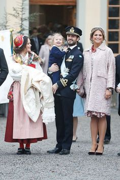 (L-R) Prince Gabriel of Sweden, Duke of Dalarna held by Princess Sofia of Sweden and Prince Carl Philip holding Prince Alexander, Duke of Sodermanland and Princess Madeline of Sweden after the christening of Prince Gabriel of Sweden at Drottningholm Palace Chapel on December 1, 2017 in Stockholm, Sweden