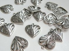 10 Swirly heart charms antique silver plated 22x19mm DB08736 by SparklingSistersJS on Etsy