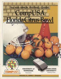 The Tennessee Football Programs: 1993 Football Program - UT vs Penn State (Citrus Bowl) Ut Football, Tennessee Football, University Of Tennessee, Football Program, College Football, State University, Neyland Stadium, Tennessee Volunteers, January 1