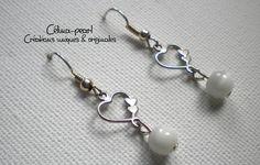 Boucles d'oreille argentées perle blanche & coeur : Boucles d'oreille par celina-pearl-petite-seance-shopping