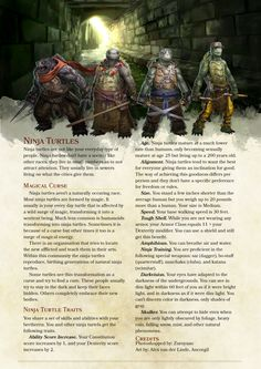 Homebrewing races Lottery Prize: Ninja Turtle race for bilingualrainbow by Zuroyuso Dungeons And Dragons Races, Dungeons And Dragons Classes, Dungeons And Dragons Homebrew, Dungeons And Dragons Characters, Dnd Characters, Le Sphinx, D D Races, Dnd Classes, Dnd 5e Homebrew