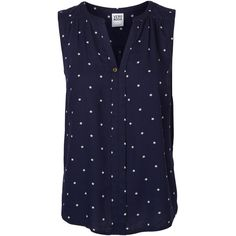 Vero Moda Printed Sleeveless Blouse ($12) ❤ liked on Polyvore featuring tops, blouses, shirts, blusas, black iris, curved hem shirt, sleeveless shirts, v neck tops, sleeveless blouse and sleeveless tops