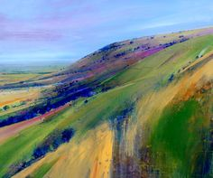 """Ditchling Beacon III"" by Lorna Holdcroft. Acrylic landscape painting with AMAZING depth and color. Wish I could see it in person."