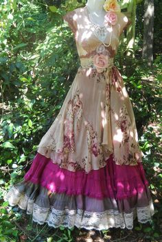 redesign remake upcycle dress Floral  maxi dress plum lace rose boho  vintage by vintageopulence, $150.00