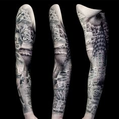 American full sleeve tattoo for men part 2 by Steve Toth Man Parts, Professional Tattoo, Sleeve Tattoos, Tattoos For Guys, Tattoo Artists, 1940s, Black And Grey, American, Men
