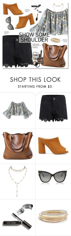"""""""Shimmy, Shimmy: Off-Shoulder Tops"""" by oshint ❤ liked on Polyvore featuring Miss Selfridge, Tom Ford, Bobbi Brown Cosmetics, Kendra Scott and MAC Cosmetics"""