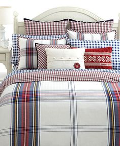Tommy Hilfiger tartan bedding and white furniture