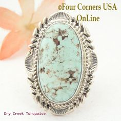 Four Corners USA Online - Size 7 1/2 Dry Creek Turquoise Large Stone Ring Navajo Artisan Thomas Francisco NAR-1682, $260.00 (http://stores.fourcornersusaonline.com/size-7-1-2-dry-creek-turquoise-large-stone-ring-navajo-artisan-thomas-francisco-nar-1682/)