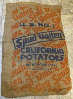 Burlap Sack, Spud Valley California Potatoes, Vintage Farm and Barn Stock Country Living Decor, Burlap Sacks, Vintage Farm, Antique Paint, Old Wood, Wood Art, Orange Color, Framed Art
