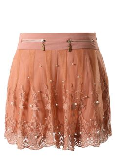 Pearl Lace Zip Shorts in Peach