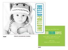 Blue Conversation Bubble Sweet Petite Digital Photo Birth Announcement | PrintsWell.com