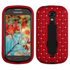 Rugged Symbiosis w/ Diamonds Case for Galaxy Light - Red/Black
