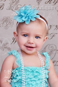 Turquoise Chiffon Big Flower for Babies and Toddlers