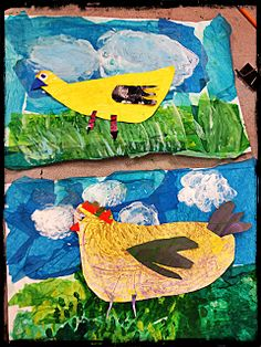 it's an HSES Arty Party!:Eric Carle collage with painting on top of tissue paper. Kindergarten Art Lessons, Art Lessons Elementary, First Grade Art, Chicken Art, Blue Chicken, Animal Art Projects, Farm Art, Spring Art, Preschool Art