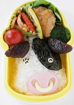 cute cow bento :3 My mother would love this