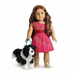 American Girl® Dolls: Saige's Sparkle Dress & Dog