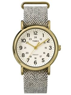 Timex Originals Weekender Slip Thru Brown and Beige Herringbone Tweed Best Watches For Men, Cool Watches, Wrist Watches, Weekender, Tweed, Timex Watches, Sport Watches, Quartz Watch, Gold Watch
