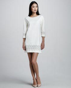 Ivy & Blu - Lace-Trimmed Shift Dress