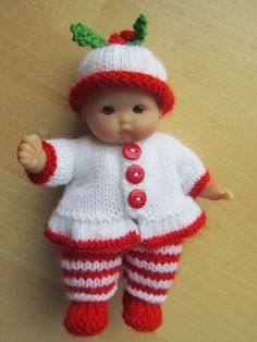 "Hand Knitted Candy Cane Outfit for 5"" Berenguer Doll"