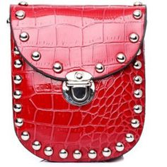 HP11/22 Red cross body bag Red croc embossed cross body bag with detachable chain and stunning silver rivetsnew in packageFixed Price❌ Bags Crossbody Bags