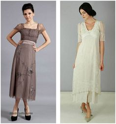 Look to the past for your wedding dress inspiration with era and vintage inspired dressed from Nataya by Wardrobe online vintage store Tea Wedding Dresses, Colored Wedding Dress, Vintage Inspired Wedding Dresses, Boho Wedding Dress, Vintage Dresses, Victorian Fashion, Vintage Fashion, Titanic Dress, Vintage Mode