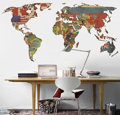 Mapa dmundi. Vinilo decorativo vinilo de pared por decoryourwall