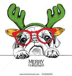 The image of the portrait dog Pug in the reindeer antlers and with glasses. Vector illustration. - stock vector