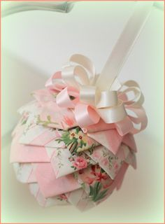 Shabby chic 'Rose Empress' quilted Christmas Ornament - would make a great Baby's 1st Christmas ornament