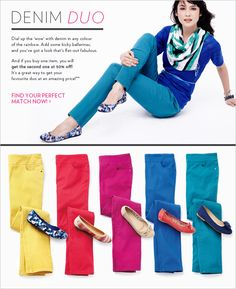 Dial up the 'wow' with denim in any colour of the rainbow. #reitmans