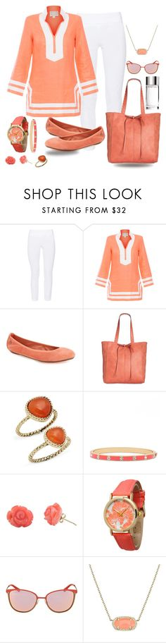 """""""Coral Tunic with Leggings"""" by snowflakeunique ❤ liked on Polyvore featuring ELLIOTT LAUREN, Sail to Sable, Hush Puppies, Style & Co., Saks Fifth Avenue, Kate Spade, Bamboo, Olivia Pratt, Vogue and Kendra Scott"""