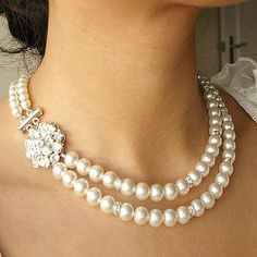 Pearl+Bridal+Necklace+Vintage+Style+Pearl+Wedding+by+luxedeluxe,+$89.00