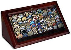 Military Coin Display Case - Need to get him one of these! Knife Display Case, Coin Display Case, Display Cases, Challenge Coin Holder, Challenge Coin Display, Military Retirement, Military Gifts, Retirement Gifts, Modern Man Cave