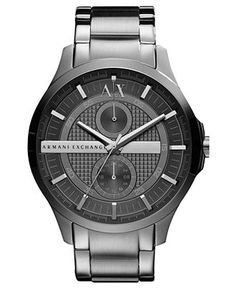 A X Armani Exchange Watch, Men's Gray Ion Plated Stainless Steel Bracelet 46mm AX2119
